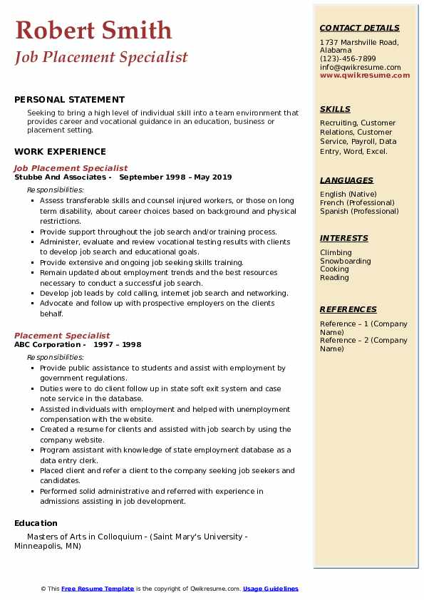 Job Placement Specialist Resume Example