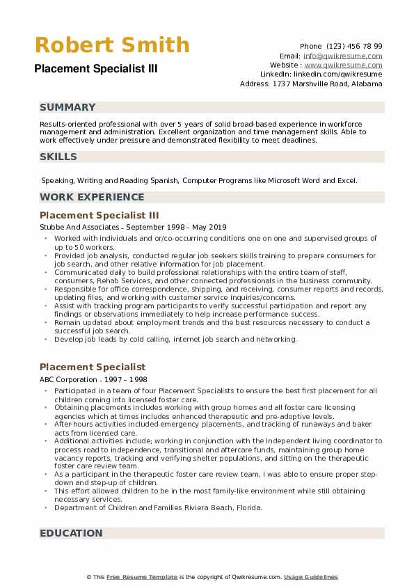 Placement Specialist III Resume Example
