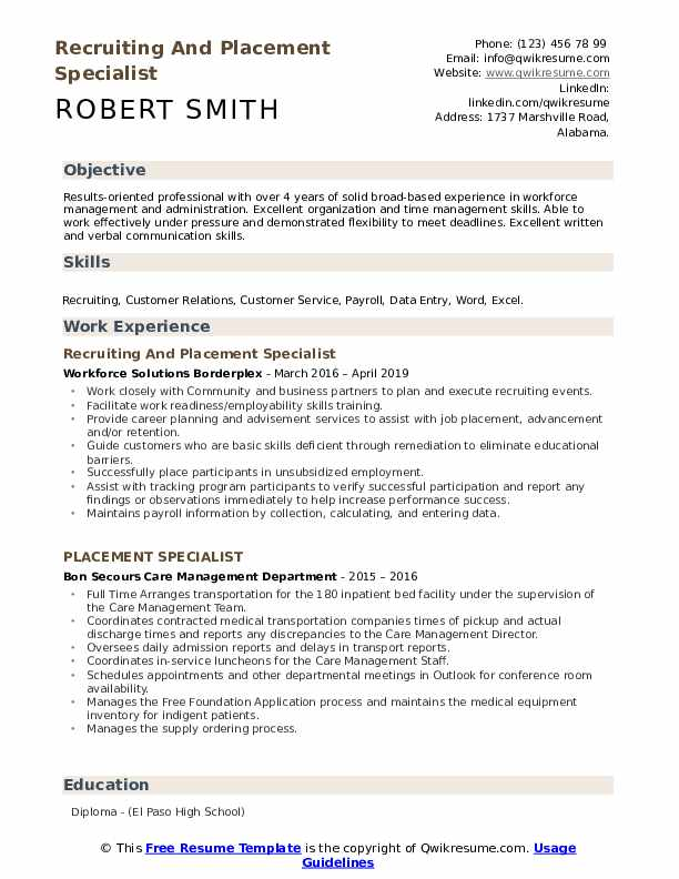 Recruiting And Placement Specialist Resume Sample