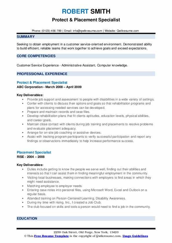 Protect & Placement Specialist Resume Example