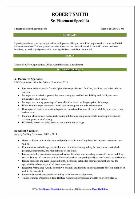 Sr. Placement Specialist Resume Example