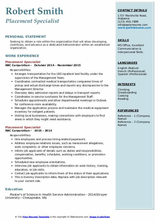 Placement Specialist Resume example