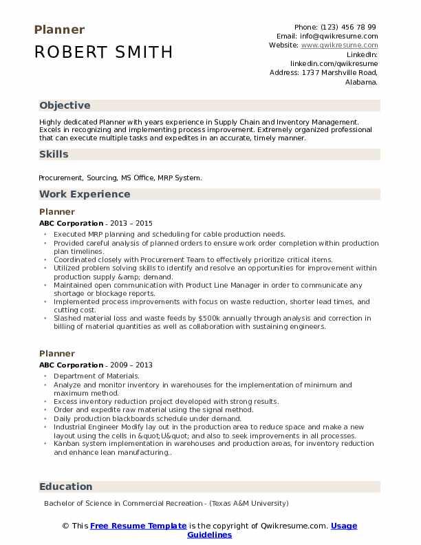 Planner Resume Samples | QwikResume