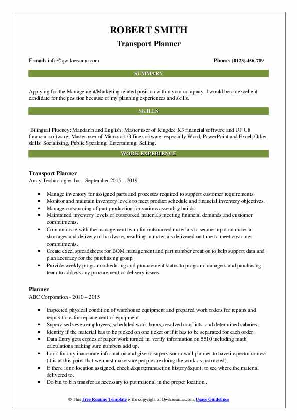 Transport Planner Resume Format