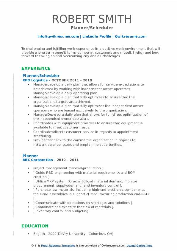 Planner Resume Samples | QwikResume