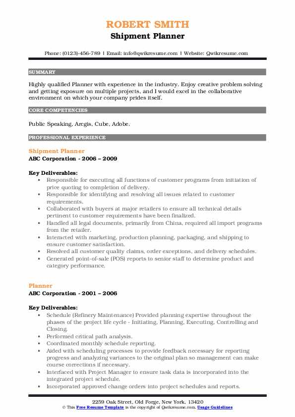 Shipment Planner Resume Sample