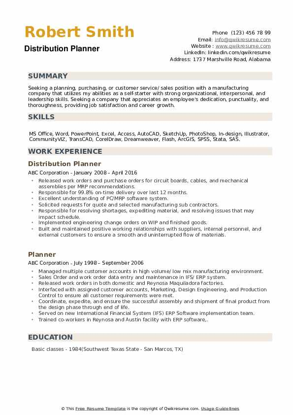 Distribution Planner Resume Format