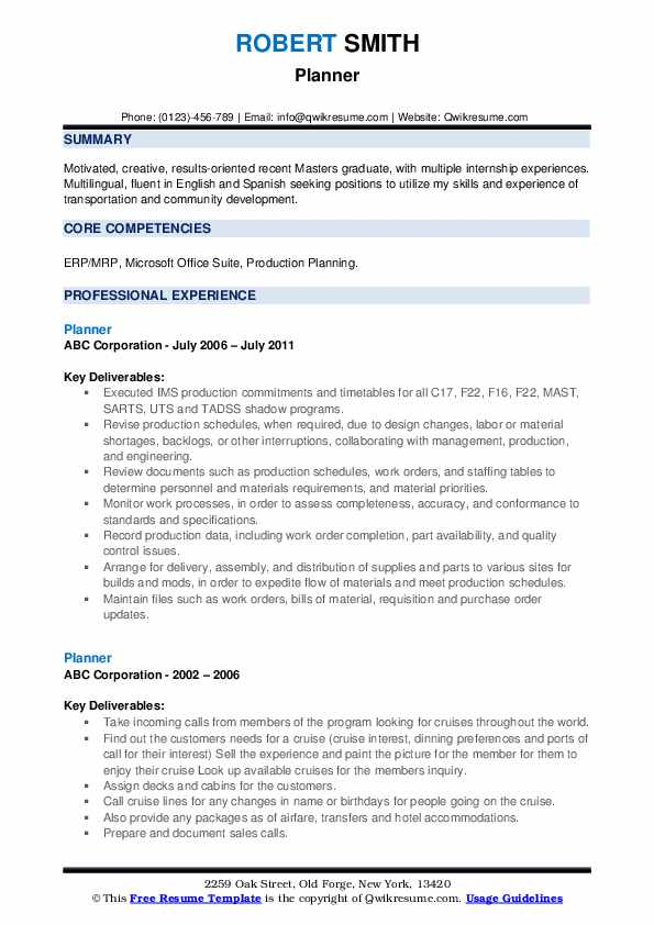 Planner Resume example