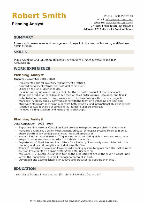 Planning Analyst Resume example
