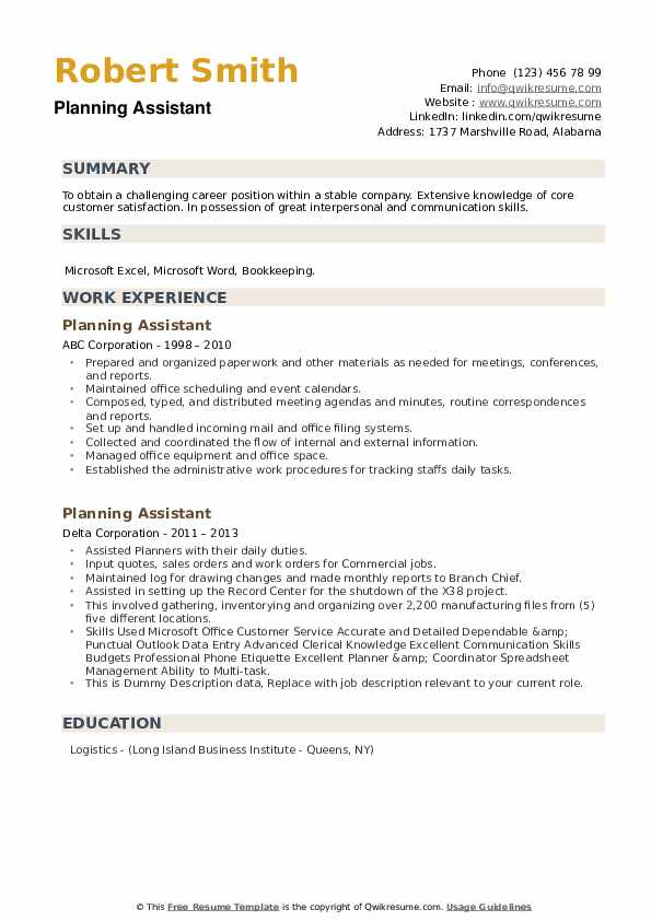 Planning Assistant Resume example