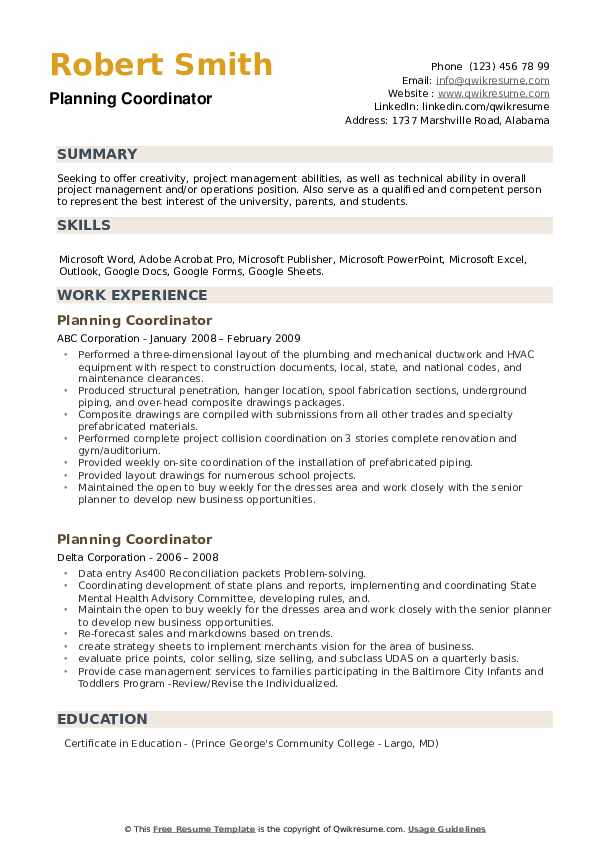 Planning Coordinator Resume example
