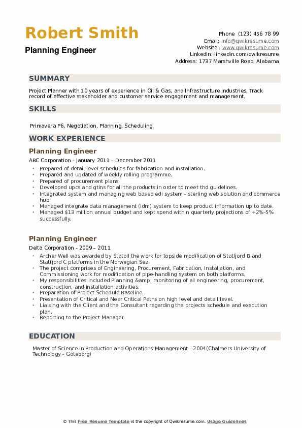 Planning Engineer Resume example