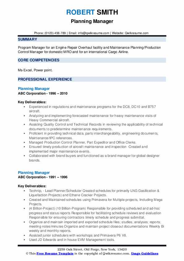 Planning Manager Resume example