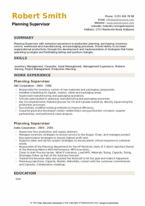 Planning Supervisor Resume example