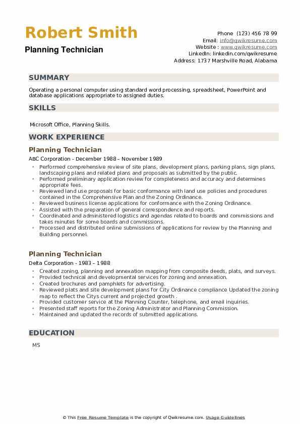 Planning Technician Resume example