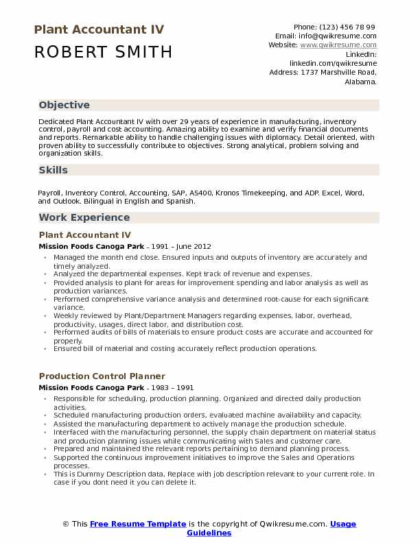 Plant Accountant IV Resume Sample