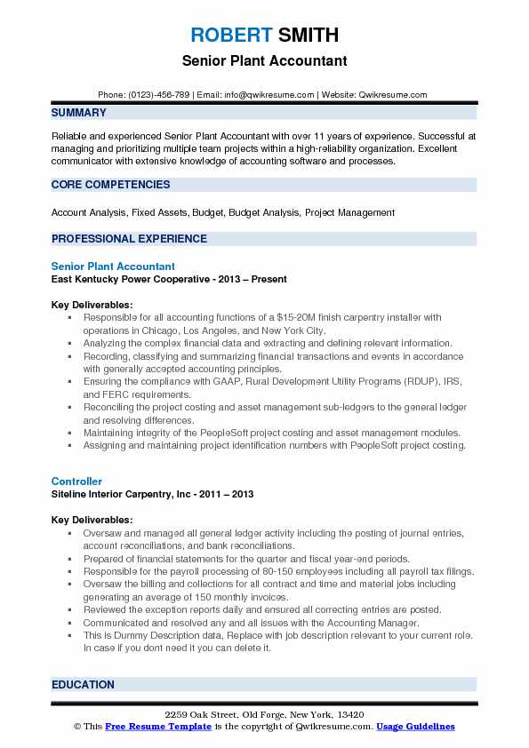 Plant Accountant Resume Samples Qwikresume