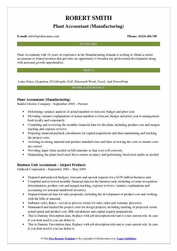 Plant Accountant (Manufacturing) Resume Sample