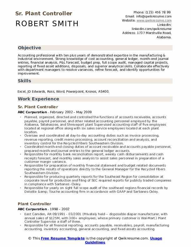 Sr. Plant Controller Resume Model