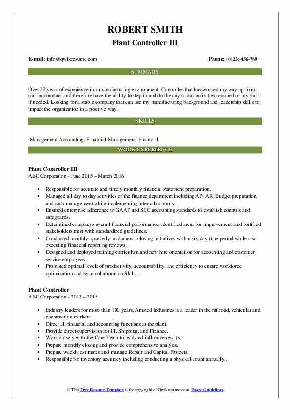 Plant Controller III Resume Example