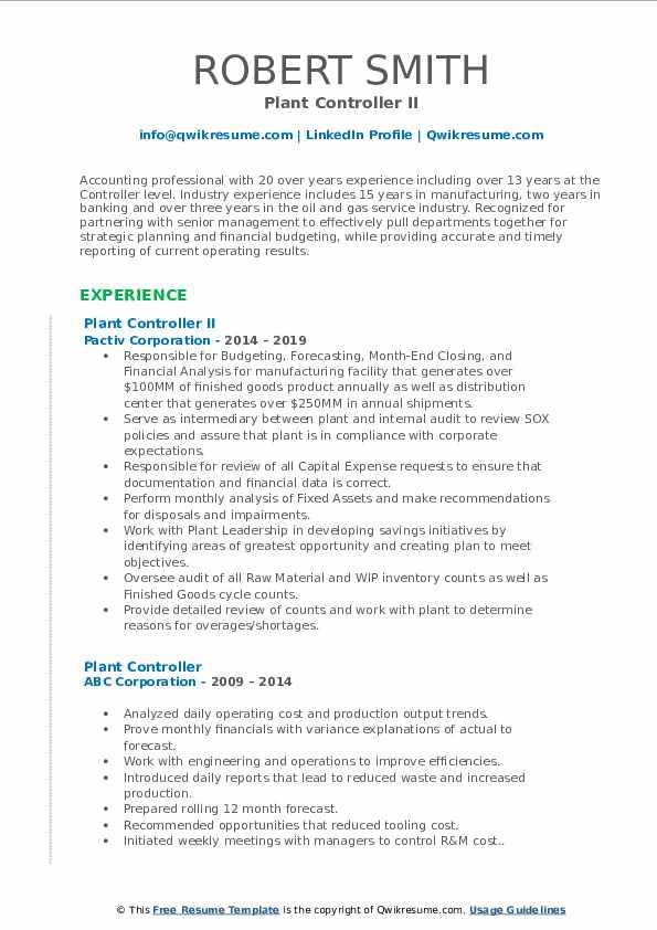 Plant Controller II Resume Sample
