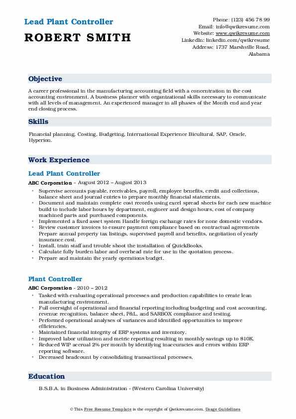 Lead Plant Controller Resume Model