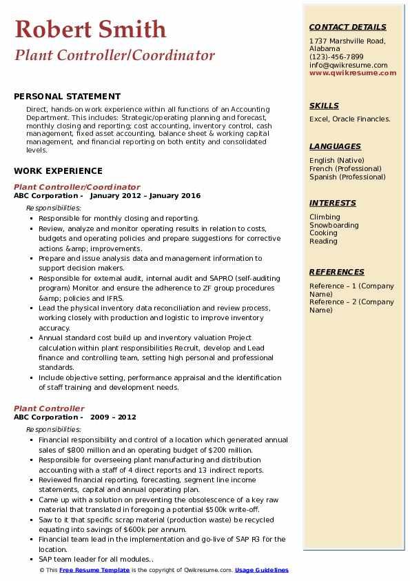 Plant Controller/Coordinator Resume Model