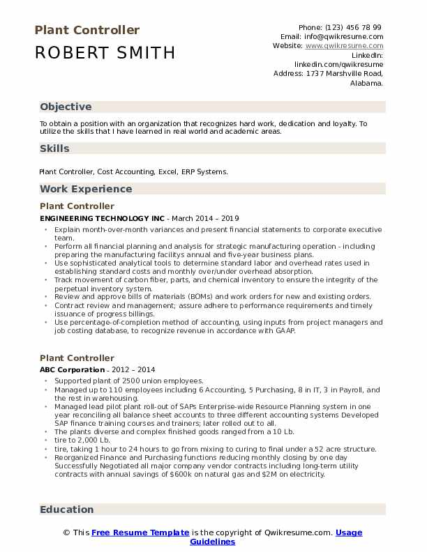 Plant Controller Resume example