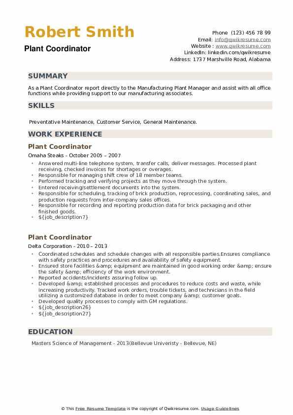 Plant Coordinator Resume example