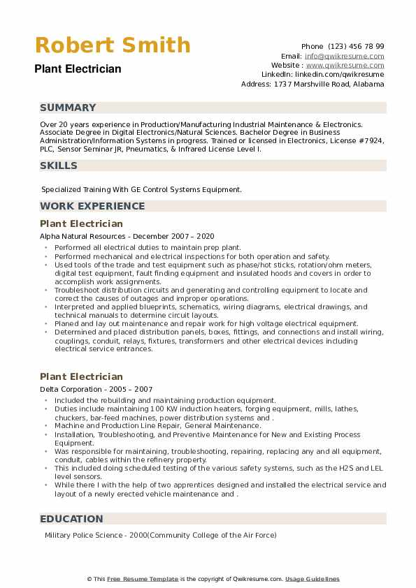 Plant Electrician Resume example