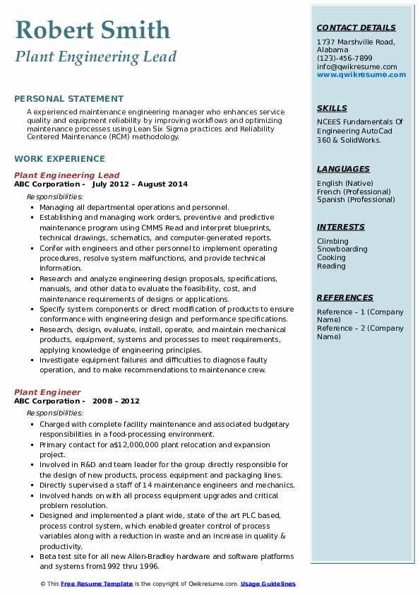 Plant Engineering Lead Resume Example