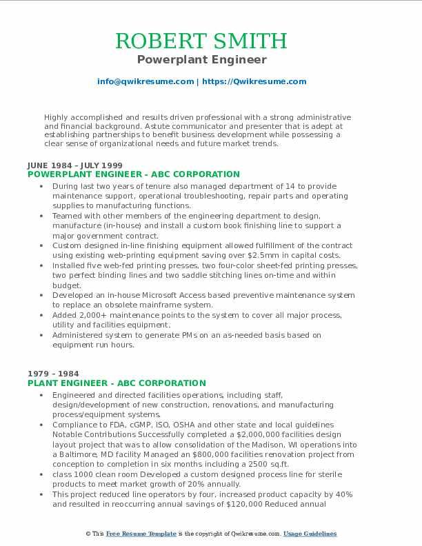 Powerplant Engineer Resume Format