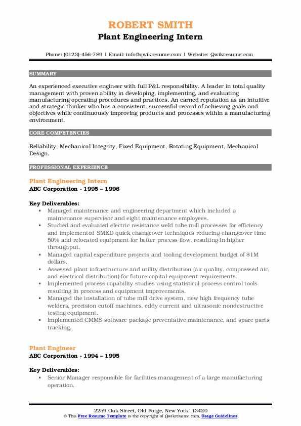 Plant Engineering Intern Resume Format