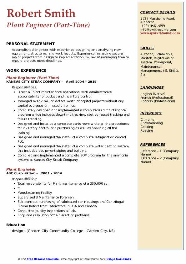 Plant Engineer (Part-Time) Resume Example