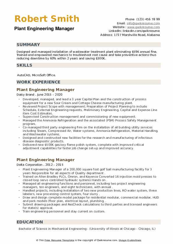 Plant Engineering Manager Resume example