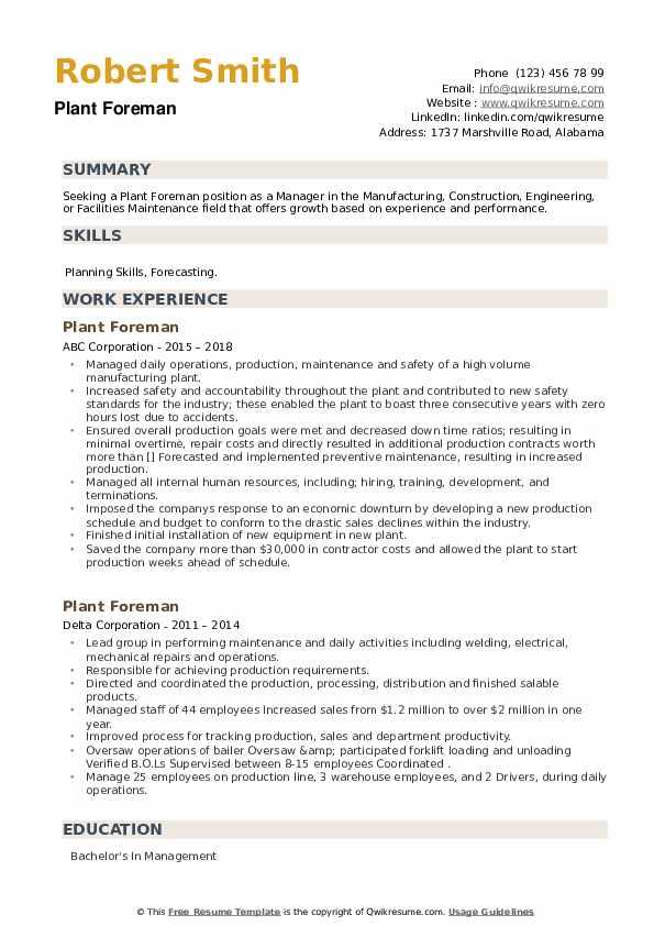 Plant Foreman Resume example