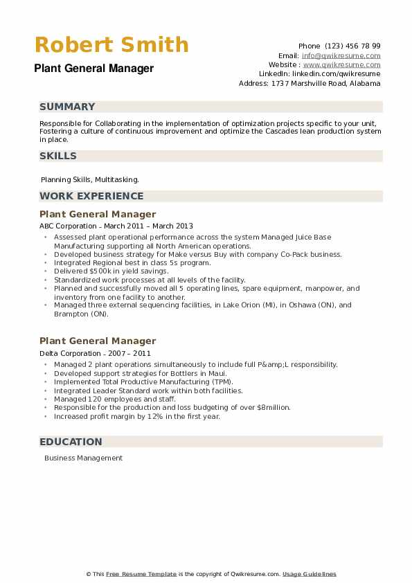Plant General Manager Resume example