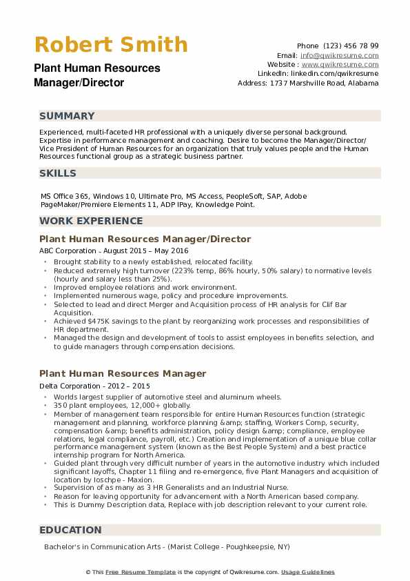 Plant Human Resources Manager Resume example