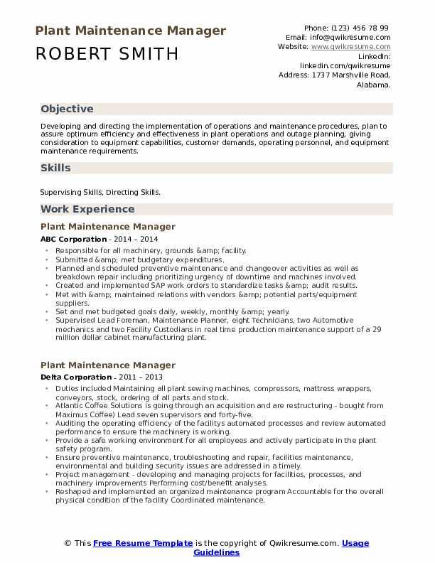 Plant Maintenance Manager Resume example
