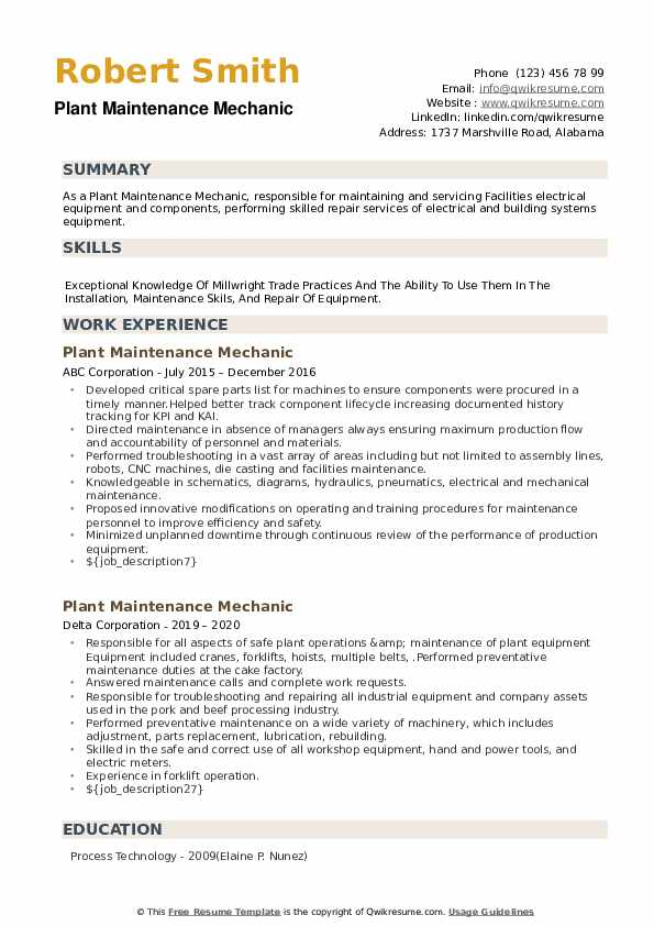 Plant Maintenance Mechanic Resume example