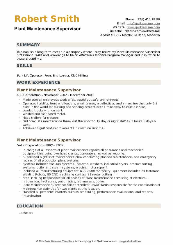 Plant Maintenance Supervisor Resume example