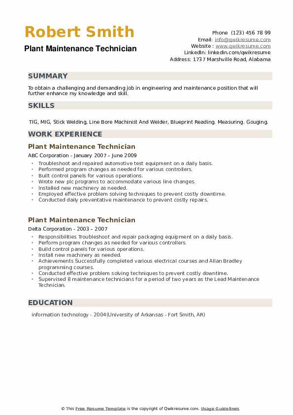 Plant Maintenance Technician Resume example