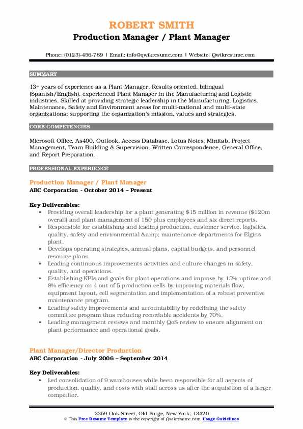 plant manager resume samples