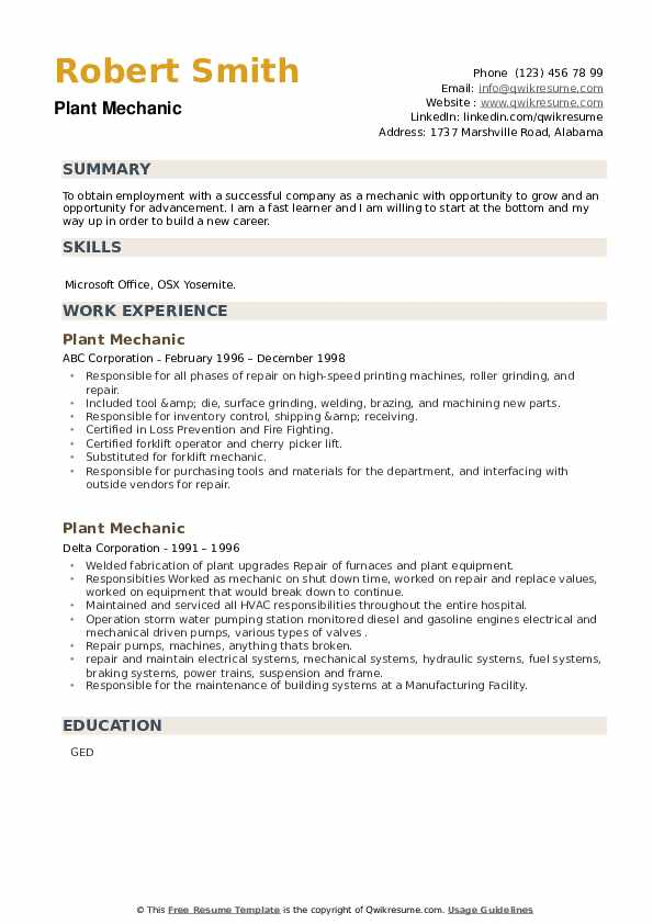 Plant Mechanic Resume example