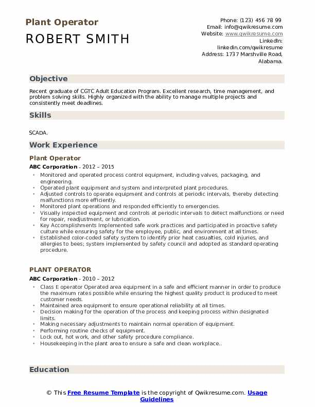 Plant Operator Resume Sample