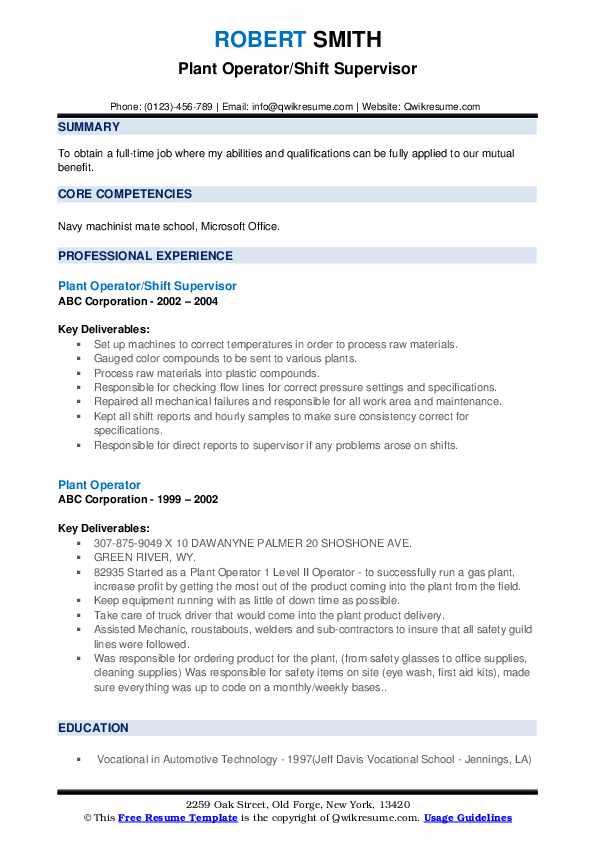 Plant Operator/Shift Supervisor Resume Model