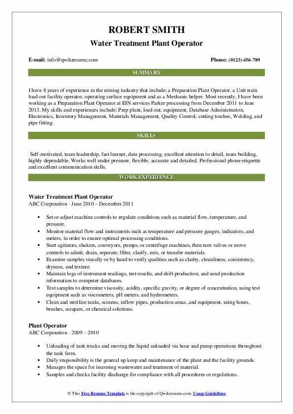 Plant Operator Resume Samples