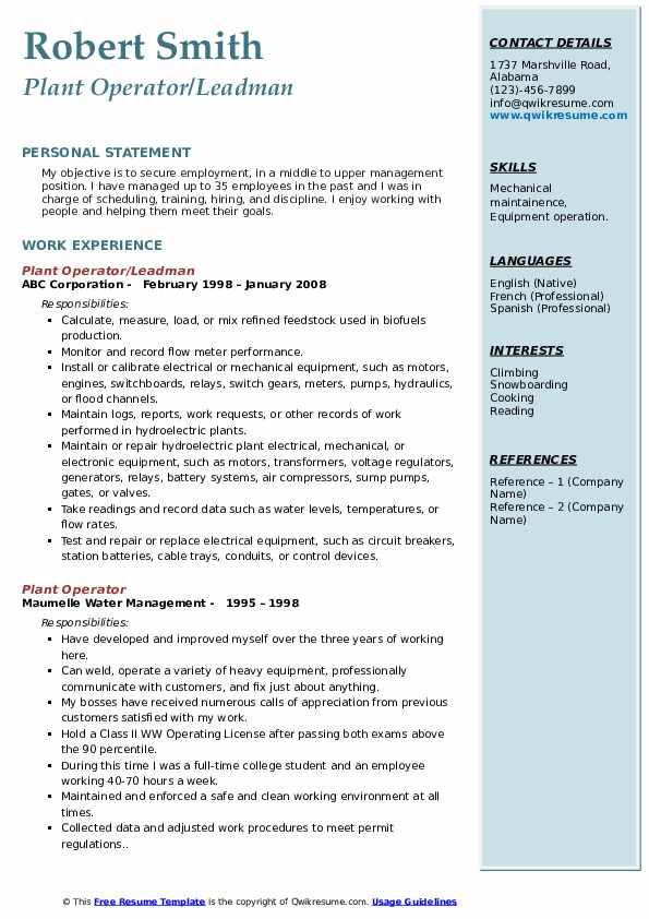 Plant Operator/Leadman Resume Template