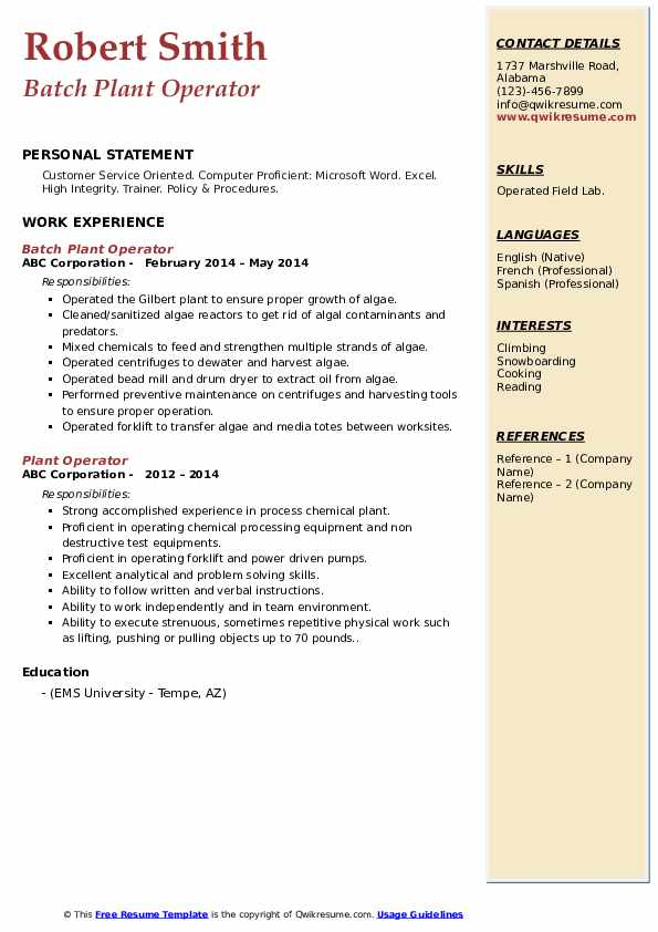 plant operator resume samples