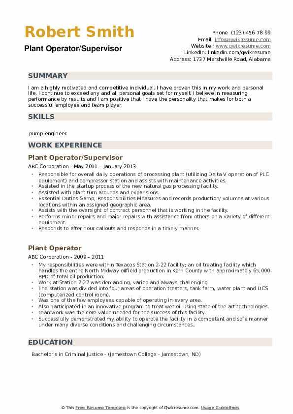 Plant Operator/Supervisor Resume Sample